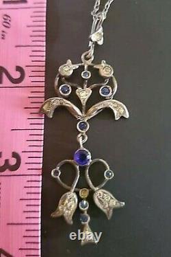 Art Nouveau Lavaliere Necklace Silver Pendant Antique Edwardian Blue Paste
