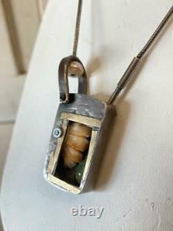 Artisan Sterling Silver & Bone Shadowbox Brutalist Modernist Necklace