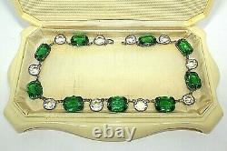 Atq Art Deco Emerald Paste Glass Vauxhall Sterling Silver Riviere Necklace Sb