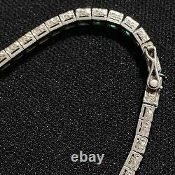 Authentic Antique Estate Sterling Silver Art Deco Green Paste Glass Bracelet 7