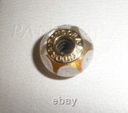 Authentic NEW RARE Pandora White Mystic 14ct Yellow Gold & Glass bead 750406