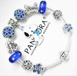 Authentic Pandora Bracelet Silver Bangle With Snoopy Love My Dog European Charms