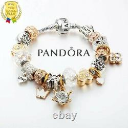 Authentic Pandora Bracelet Silver Bangle with Love Story European Charms
