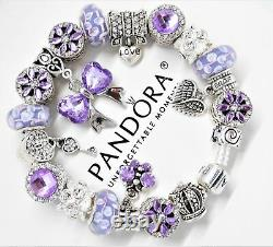 Authentic Pandora Bracelet Silver Charm With Purple Crystal European charmsNIB