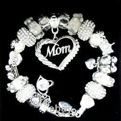 Authentic Pandora Bracelet Silver with MOM White Family European Charms NIB