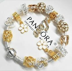 Authentic Pandora Charm Bracelet Silver Bangle GOLD LOVE HEART European Charms