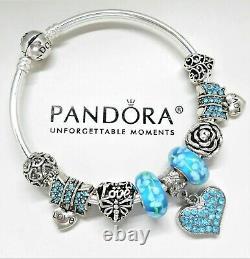 Authentic Pandora Charm Bracelet Silver Bangle With LOVE HEART European Charms