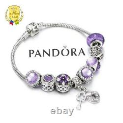 Authentic Pandora Charm Bracelet Silver Purple Love Heart with European Charms