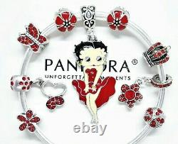 Authentic Pandora Charm Bracelet With Silver & Red Betty Boop European Charms