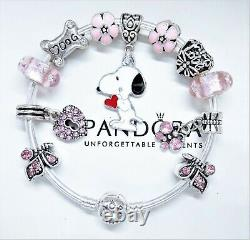Authentic Pandora Silver Bangle Bracelet PINK Snoopy Love Dog European Charms