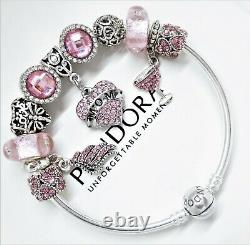 Authentic Pandora Silver Bangle Bracelet Pink Love With European Charms