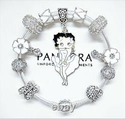 Authentic Pandora Silver Bangle Charm Bracelet With Betty Boop European Charms