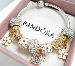 Authentic Pandora Silver Bangle Charm Bracelet With GOLD Heart European Charms