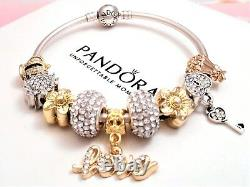 Authentic Pandora Silver Bangle Charm Bracelet, With Gold Love European Charms