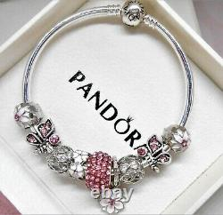 Authentic Pandora Silver Bangle Charm Bracelet With Pink Heart European Charms