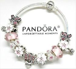Authentic Pandora Silver Bangle Charm Bracelet, With Pink Love European Charms