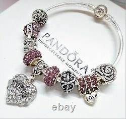Authentic Pandora Silver Bangle Charm Bracelet With Purple Nurse European Charms