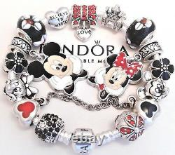 Authentic Pandora Silver Bracelet With Mickey & Minnie Disney European Charms