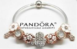 Authentic Pandora Silver Bracelet With Rose Gold Heart European Charms
