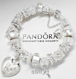 Authentic Pandora Silver Bracelet With White Valentine Love Story European Charm