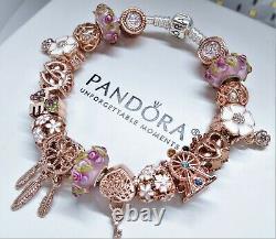 Authentic Pandora Silver Charm Bracelet PINK ROSE GOLD LOVE HEART European Beads