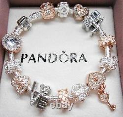 Authentic Pandora Silver Charm Bracelet ROSE & WHITE GOLD LOVE European Beads