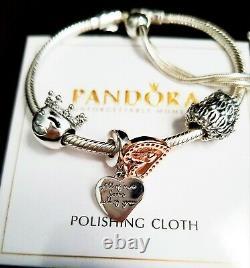 Authentic Pandora Sliding Silver bracelet with Love Heart European Silver Charms