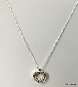 Authentic Pandora Sparkling Floating Heart Locket #397230cz-60 Hinge Bx Retired