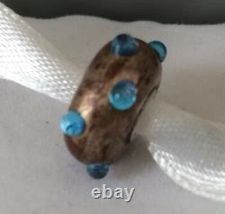 Authentic Trollbeads Shining Blue Bud Bead Retired Museum Bead