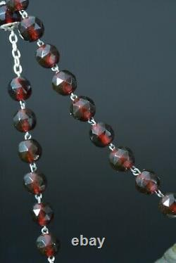 Beautiful Large french Antique Rosary Sterling Silver garnet glass 19thc Rare