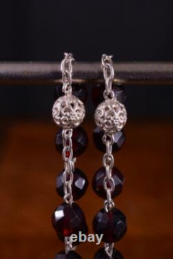 Beautiful french Antique Rosary Sterling Silver garnet glass filigree 19thc rare