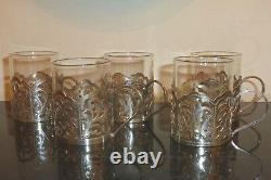 Bhatter & Co Set Of 5 Sterling Silver And Glass Demitasse Cups, India