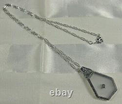 Camphor Glass withDiamond Pendant Necklace Filigree Sterling 18L