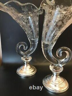 Chantilly Etched Glass Cornucopia Vases With Sterling Silver Base. Beautiful