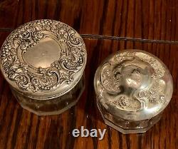 Collection 5 Antique Sterling Silver Glass Vanity Dresser Jars Kirk & Son Other