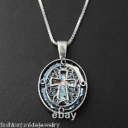 Cross Necklace 925 Sterling Silver -Ancient Roman Glass Pendant Cross Faith BX
