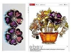 Derosa Sterling large glass Patent Pend vintage clip earrings R. DE ROSA