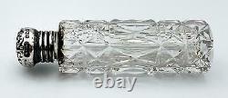 EDWARDIAN STERLING SILVER CUT GLASS PERFUME SCENT BOTTLE & POUCH Birmingham 1902