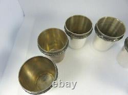 ESTATE Set of 6 Sterling Silver Shot Glasses