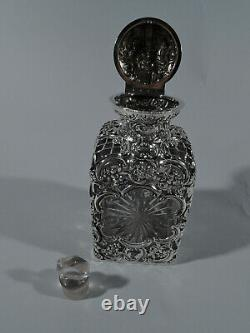 Edwardian Perfume Antique Bottle English Sterling Silver Glass Comyns 1903