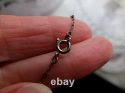 Edwardian Sterling Filigree Aquamarine or Glass Large Pendant Paperclip Chain