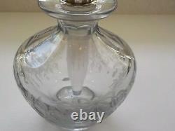 Engraved Cut Glass 6 Perfume Bottle, Sterling Silver Guilloche Enamel Stopper