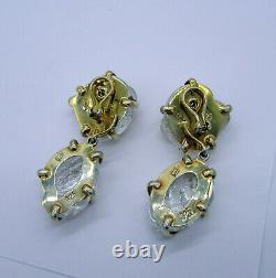 Estate MARIQUITA MASTERSON Sterling Silver Poured Glass 2 Piece Pierced Earrings