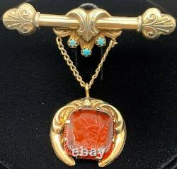 Estate Sterling Silver Vermeil Antique Victorian Cameo Glass & Turquoise Brooch
