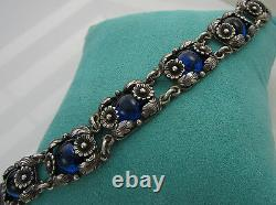 Estate Vintage Sterling Silver Blue Art Glass NIELS ERIK DENMARK Flower Bracelet