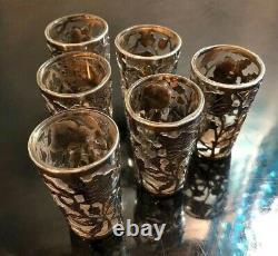 Excellent Vintage Sterling Silver And Glass Floral Lot (Set Of 6) Shot Glasses