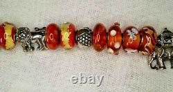 Excellent condition! TROLLBEADS Sterling & Glass Charm Bracelet-Royal Red/Amber