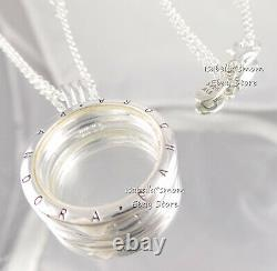 FLOATING LOCKET Authentic PANDORA Silver SAPPHIRE CRYSTAL Medium Necklace 590529