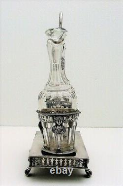 French Sterling Silver & Glass Cruet Set Figural Marked 950 fine c1818