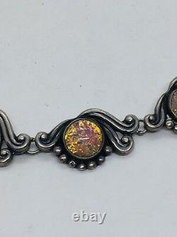 Gerardo Lopez Vintage Mexican Sterling Silver Pink Opal Glass Necklace